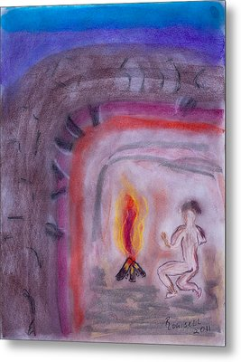 Primitive Man Fireside Metal Print by Robyn Louisell