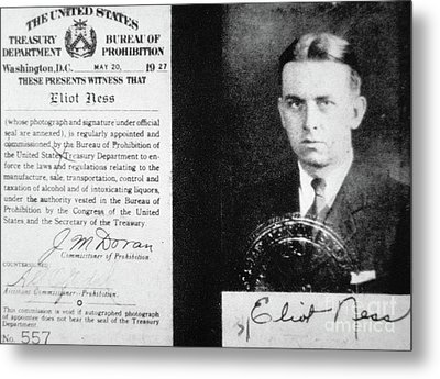 Prohibition Agent Id Card Of Eliot Ness Metal Print