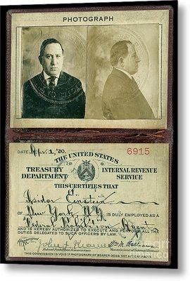 Prohibition Agent Id Metal Print by Jon Neidert