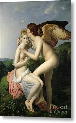 Psyche Receiving The First Kiss Of Cupid Metal Print by Gerard