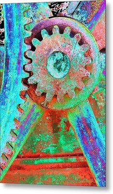 Psychedelic Gears Metal Print by Phyllis Denton