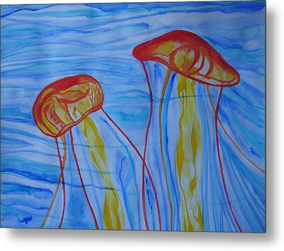 Metal Print featuring the painting Psychedelic Lion's Mane Jellyfish by Erika Swartzkopf