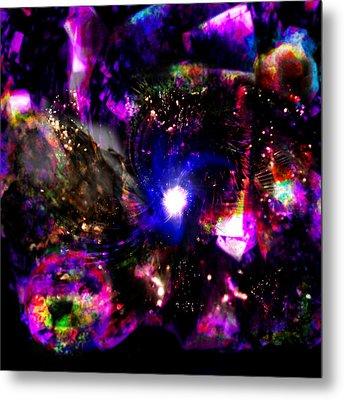 Psychedelic Rainbow Nebula Galaxy Universe Metal Print by Abram Lopez