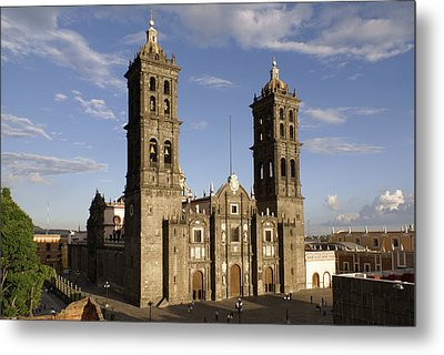 Puebla Cathedral Horizontal Mexico Metal Print by John  Mitchell