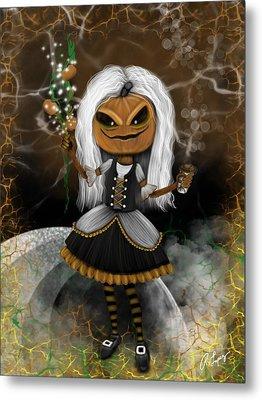 Pumpkin Spice Latte Monster Fantasy Art Metal Print
