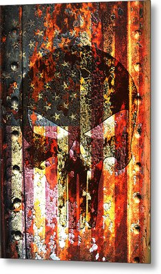 Punisher Skull On Rusted American Flag Metal Print