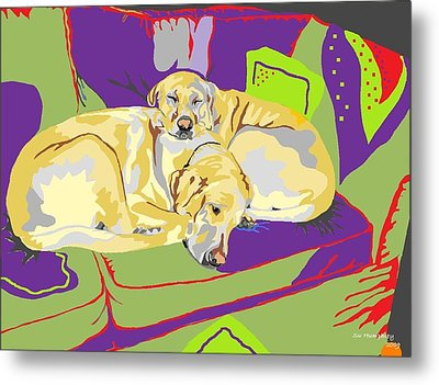 Puppy Pile Of Two Metal Print by Su Humphrey