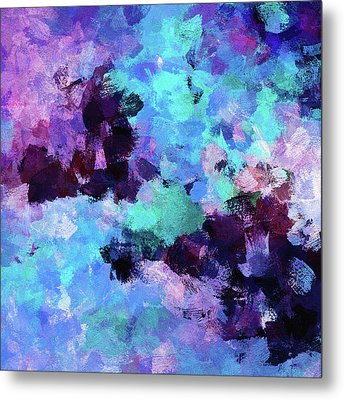 Metal Print featuring the painting Purple And Blue Abstract Art by Ayse Deniz