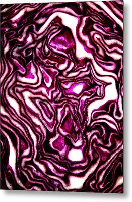 Metal Print featuring the photograph Purple Cabbage Topographical by David Dunham