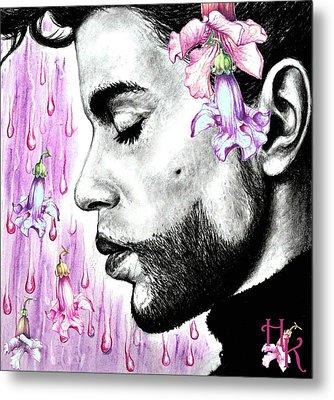 Purple Flower Rain  Prince, Roger Nelson Metal Print by Heidi Kriel
