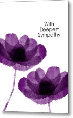 Purple Flowers Sympathy Card- Art By Linda Woods Metal Print