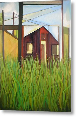 Purple House In A Green Field Metal Print