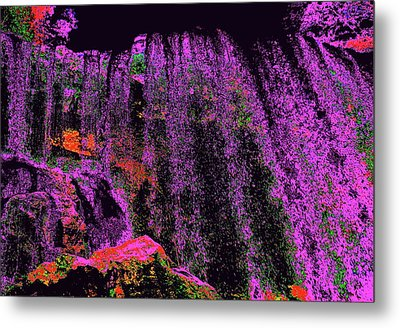 Purple Night Waterfall Metal Print by Erika Swartzkopf
