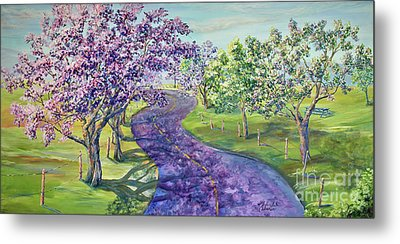 Purple Road - Springtime Metal Print by Malanda Warner