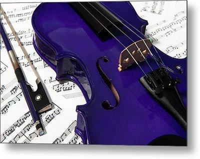 Purple Violin And Music V Metal Print
