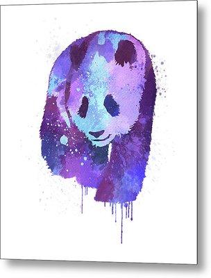 Purple Watercolor Panda Metal Print