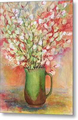 Pussy Willow And Pitcher Metal Print by Barbel Amos