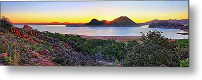 Quartz Mountains And Lake Altus Panorama - Oklahoma Metal Print by Jason Politte