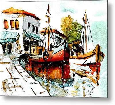 Quiet Corner On The Med Metal Print