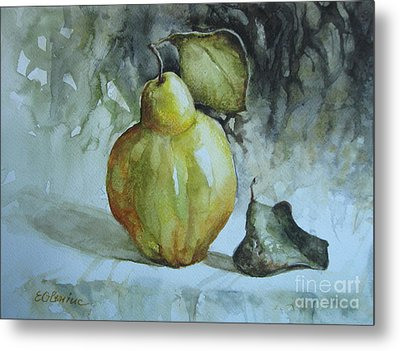 Metal Print featuring the painting Quince... by Elena Oleniuc