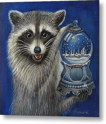 Raccoon - Christmas Star Metal Print by Temenuga Ivanova