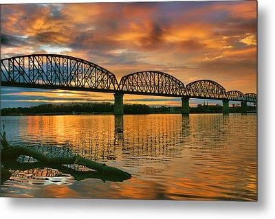 Railroad Bridge At Sunrise Metal Print by Steven Ainsworth
