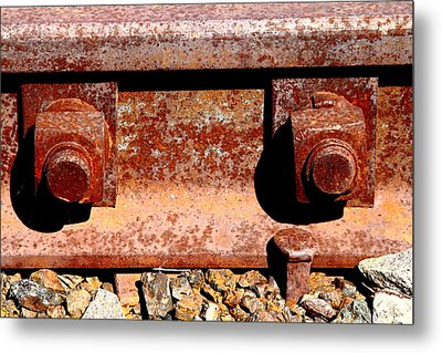 Railroad Track Nuts Bolts Spikes . 7d12683 Metal Print by Wingsdomain Art and Photography