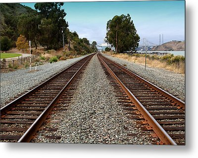 Railroad Tracks With The New Alfred Zampa Memorial Bridge And The Old Carquinez Bridge In Distance Metal Print