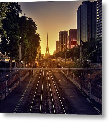 Railway Tracks Metal Print by Stéphanie Benjamin