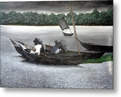 Rain In Bangladesh- An Acrylic Painting Metal Print by Fahad Hossain