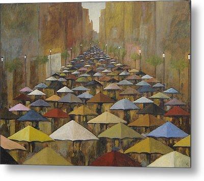 Metal Print featuring the painting Rain Street by Glenn Quist