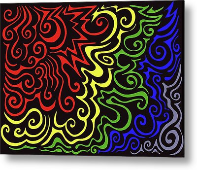 Rainbow Burst Tribal Metal Print