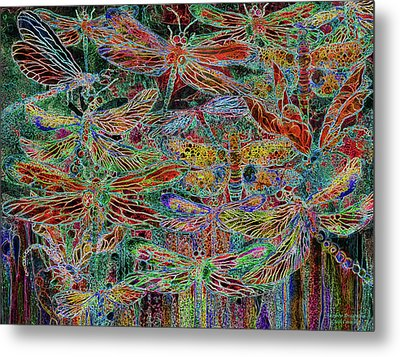 Metal Print featuring the mixed media Rainbow Dragonflies by Carol Cavalaris