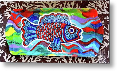 Rainbow Fish Tray Framed By Coral Reef Metal Print