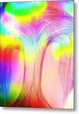 Rainbow Over A Tree Metal Print by Nereida Slesarchik Cedeno Wilcoxon