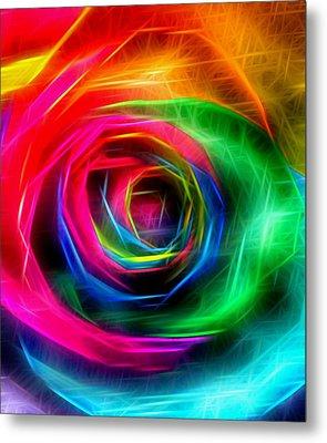 Rainbow Rose Rays Metal Print by Marianna Mills