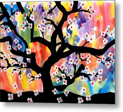Rainbow Tree Metal Print by Connie Valasco