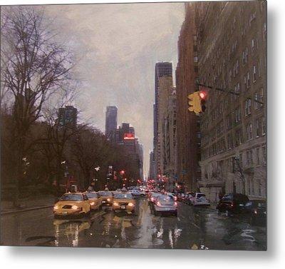 Rainy City Street Metal Print by Anita Burgermeister