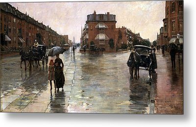 Metal Print featuring the painting Rainy Day, Boston - 1885  by Frederick Childe Hassam