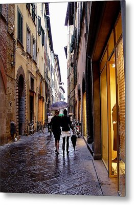 Metal Print featuring the photograph Rainy Day Shopping In Italy 2 by Nancy Bradley