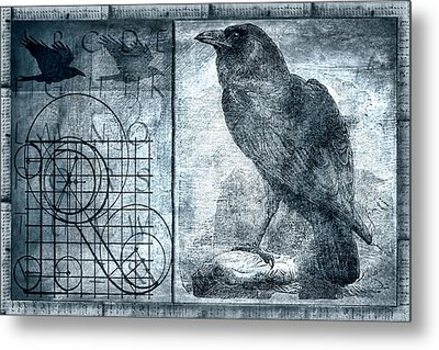 Raven Etching Photomontage Metal Print