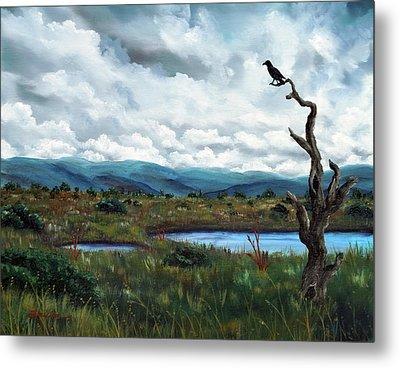 Raven In A Bleak Landscape Metal Print
