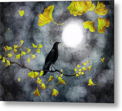 Raven In The Rain Metal Print by Laura Iverson