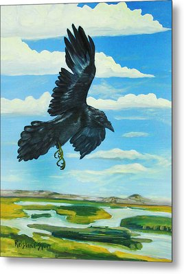 Raven Landing Metal Print by Amy Reisland-Speer