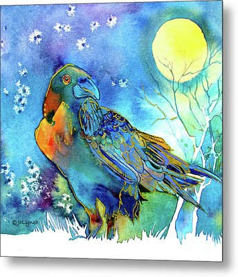 Raven Night Spirit Metal Print by Jo Lynch