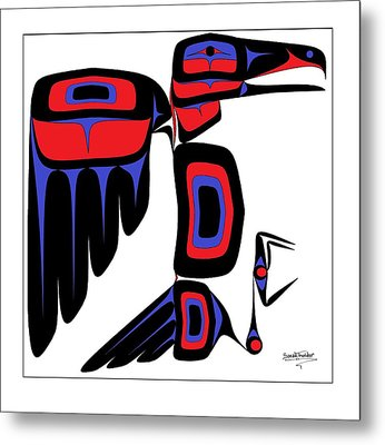 Raven Red And Blue Metal Print by Speakthunder Berry