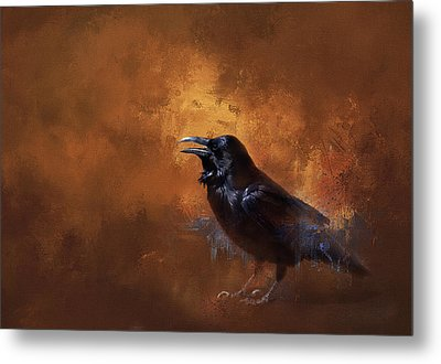 Metal Print featuring the painting Raven by Theresa Tahara