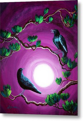 Ravens On A Summer Night Metal Print by Laura Iverson