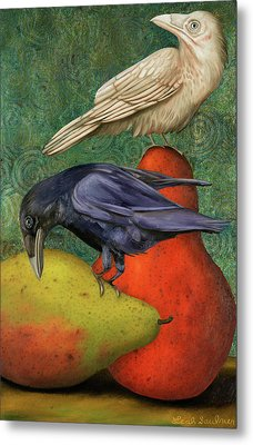 Ravens On Pears Metal Print