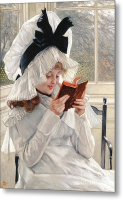 Reading A Book Metal Print